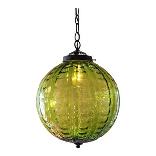 Mid-Century Green Globe Pendant Light