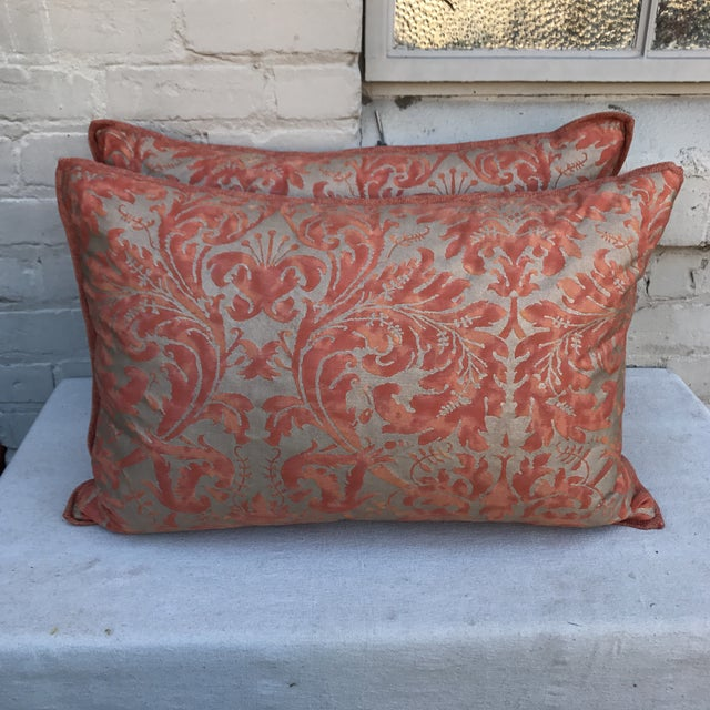 Fortuny Silvery Gold Textile Pillows - A Pair - Image 2 of 5