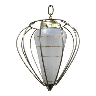 Vintage Mid-Century Caged Pendant Light