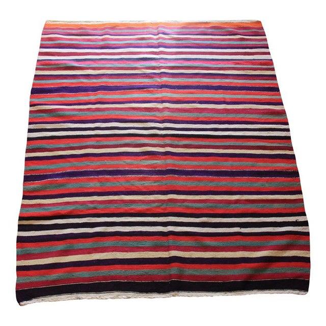 """Image of Striped Anatolia Turkish Kilim Rug - 5'7"""" x 6'10"""""""