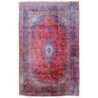 "Antique Persian Kashan Rug - 12'7"" X 8'"