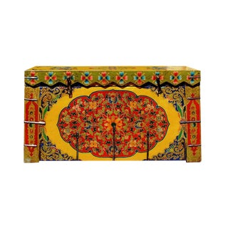 Chinese Tibetan Floral Yellow & Green Wood Trunk/Bench