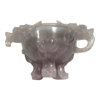 Chinese Carved Agate Dragon Decorated Vessel