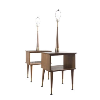 Vintage Mid-Century Modern Lamp Side Tables - A Pair