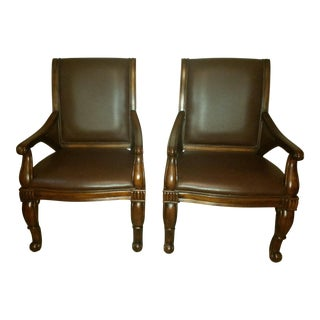 Traditional Faux Leather Side Chairs - A Pair