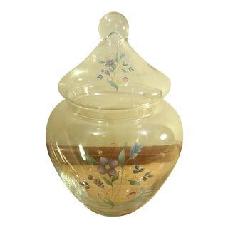 Clear Glass Floral Design Lidded Jar