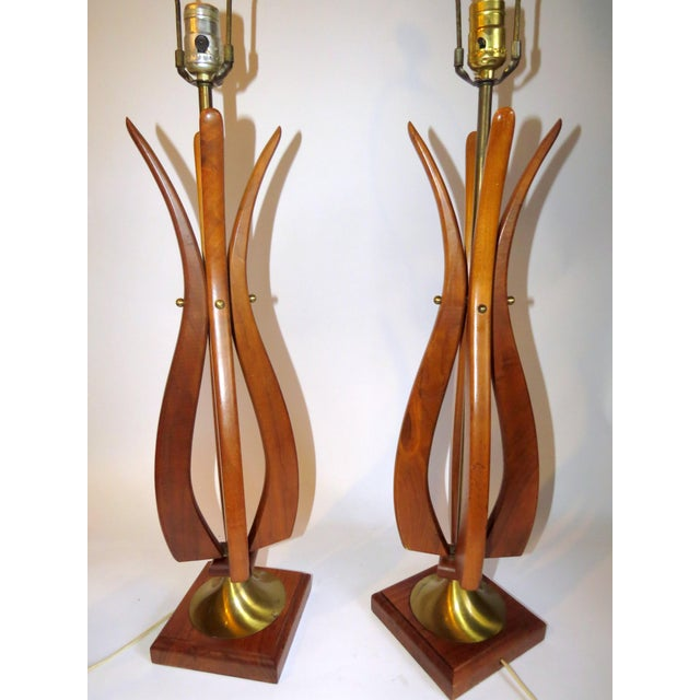 Image of Mid-Century Modern Sculptural Wood Tulip Lamps