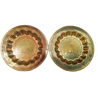 Peacock Motif Decorative Brass Plates - A Pair