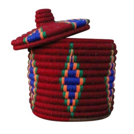 Image of Burgundy Moroccan Berber Basket