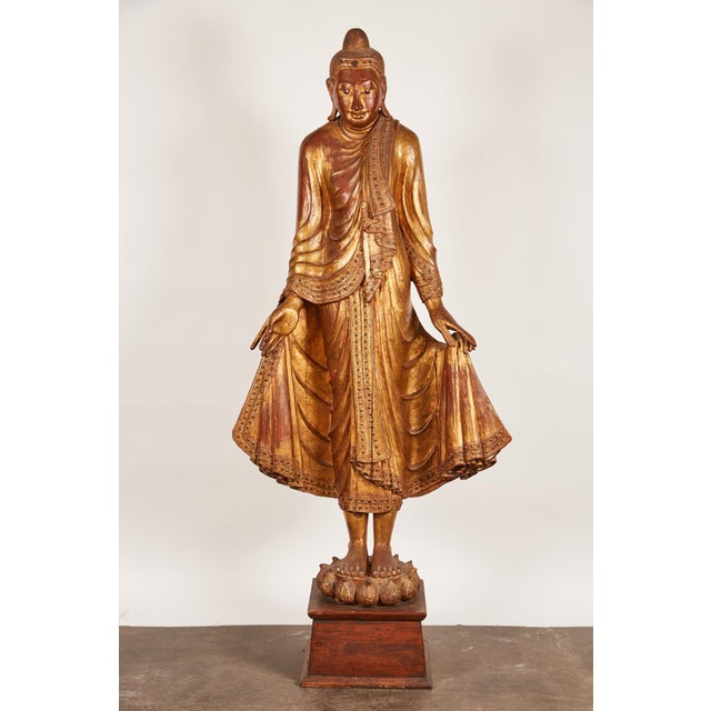 Very Large 19th Century Gold Thai Standing Buddha - Image 2 of 7
