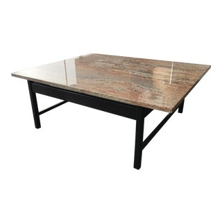 Rosewood & Travertine Top Coffee Table