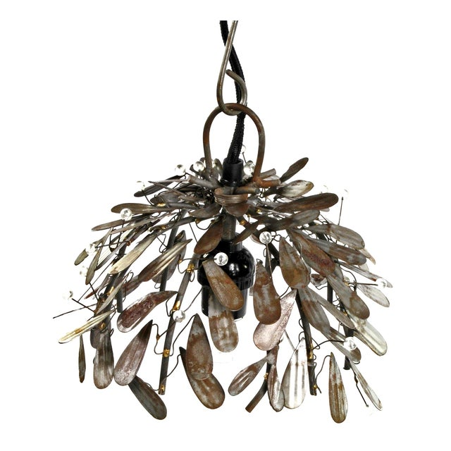 Recycled Raw Metal Leaf Pendant Light Fixture