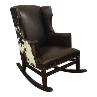 Custom Cow Hide & Leather Rocking Chair