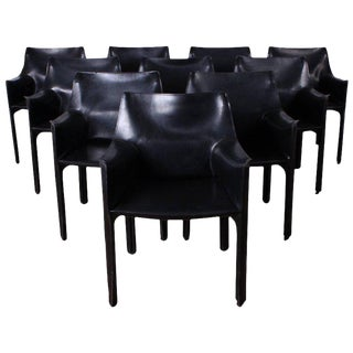 Set of Ten Cab Chairs by Mario Bellini for Cassina