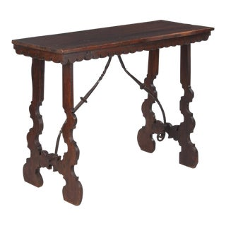 Spanish Pine Console Table with Iron Stretcher, Late 1800s