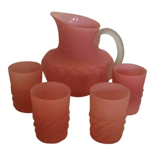 Pink Satin Glass Florette Pattern Water Pitcher & Tumblers - et of 5