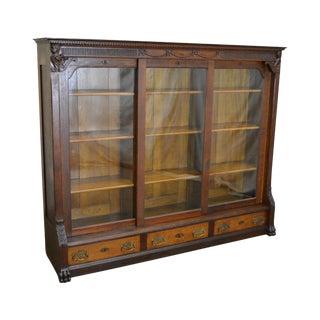 Antique Victorian Renaissance Oak 3 Door Claw Foot Bookcase w/ Drawers