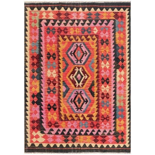 "Vintage Turkish Kilim Area Rug - 4'9"" X 6'9"""