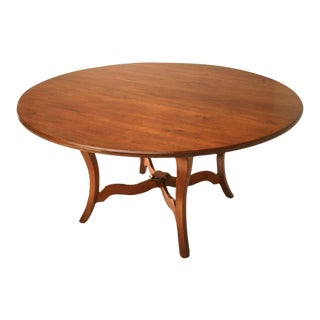 "Vintage English Hand-Crafted Solid Cherry 64"" Round Dining Table"