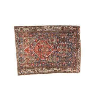 "Vintage Hamadan Rug Fragment - 3'4"" x 4'4"""