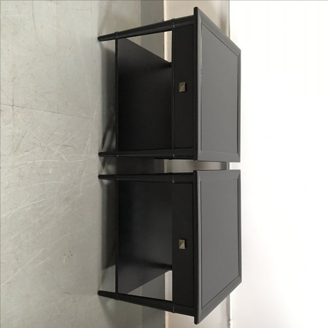 Image of Henredon Black Lacquered Nightstands - A Pair