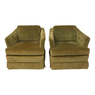1975 Vintage Woodmark Originals Chartreuse Velvet Club Chairs - A Pair