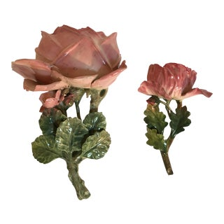Capodimonte Rose Pocket Vases - A Pair