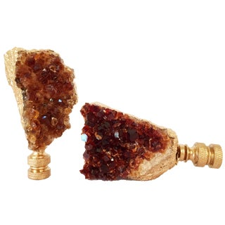 Citrine Quartz Geode Lamp Finials - A Pair
