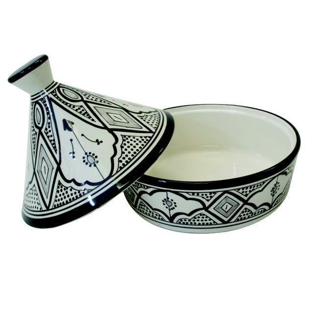 Moroccan Black & White Serving Tagine - Image 3 of 3