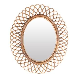 1950s Franco Albini Italian Oval Rattan Mirror