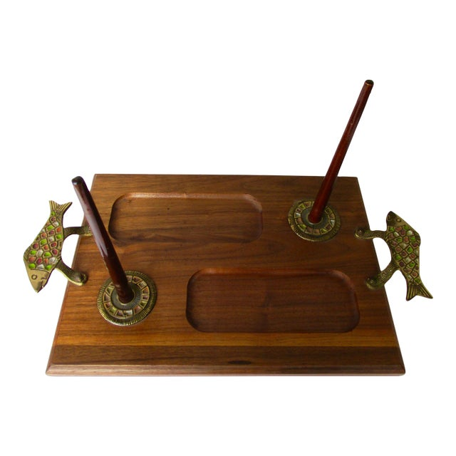 Israeli Enameled Brass Mounted Wooden Bagel Serving Tray - Image 1 of 9