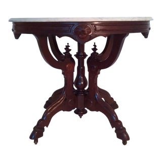 Marble Top Occasional Table (Oval) on Pied-De-Biche