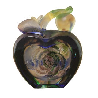 Liuli Crystal Glass Pate-De-Verre Rose Apple Paperweight