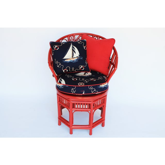 Bamboo Accent Chair W/ Nautical Theme - Image 9 of 9