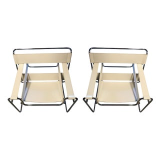 DWR Wassily Chairs, White Leather - a Pair