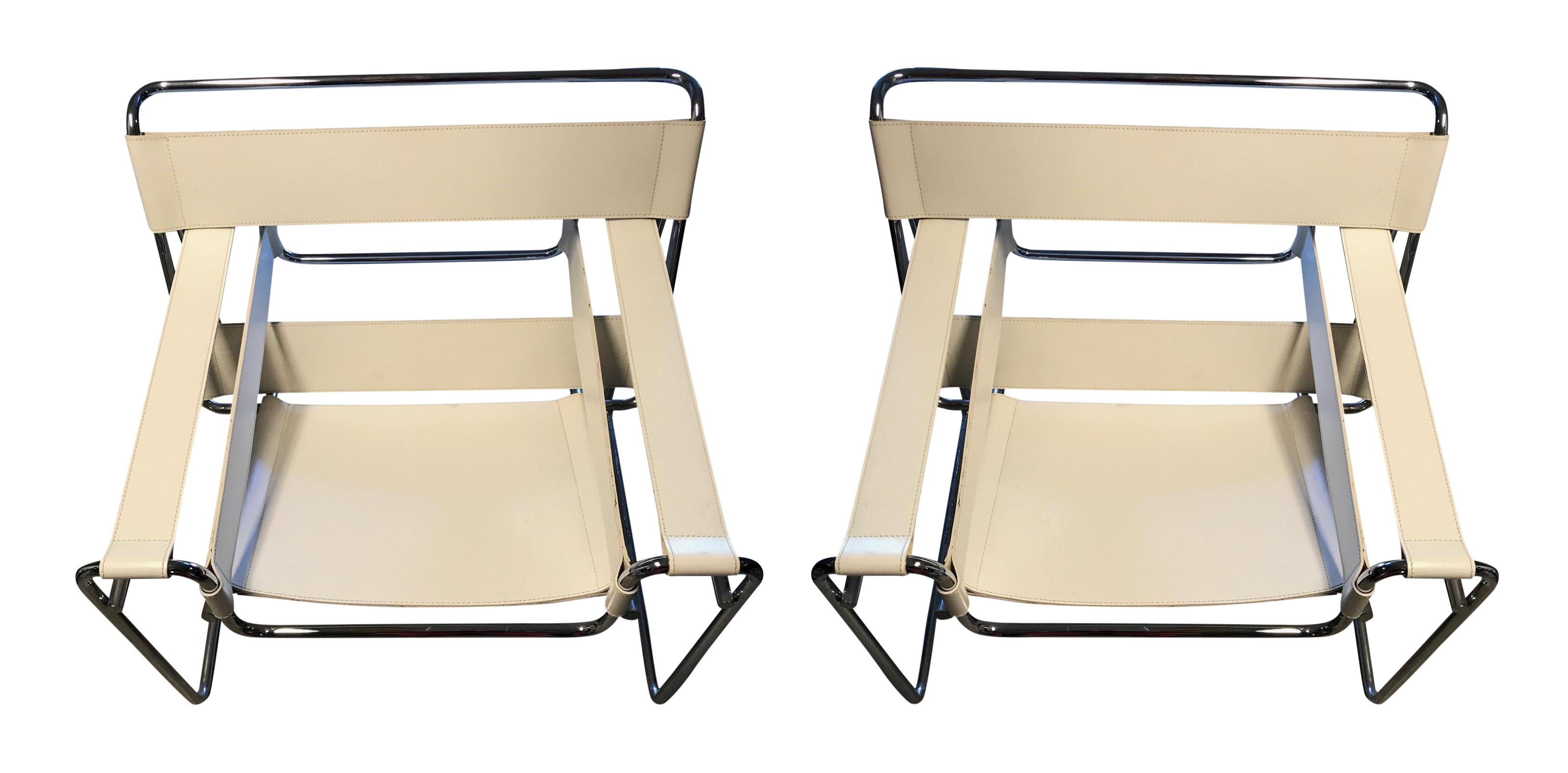 DWR Wassily Chairs, White Leather   A Pair