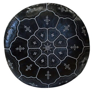 Moroccan Black on White Leather Pouf