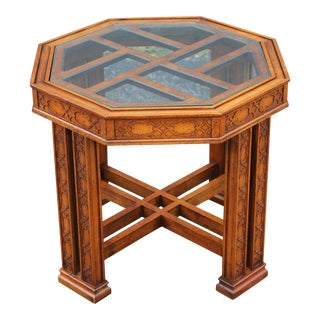Mid-Century Carved Fretwork Wooden Accent Table