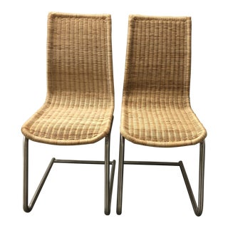 Woven Rattan Supper Side Chairs - A Pair