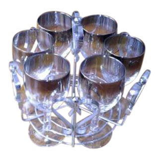 Vintage Mid Century Thorpe Style Ombre Fade Wine Glasses & Caddy - Set of 6