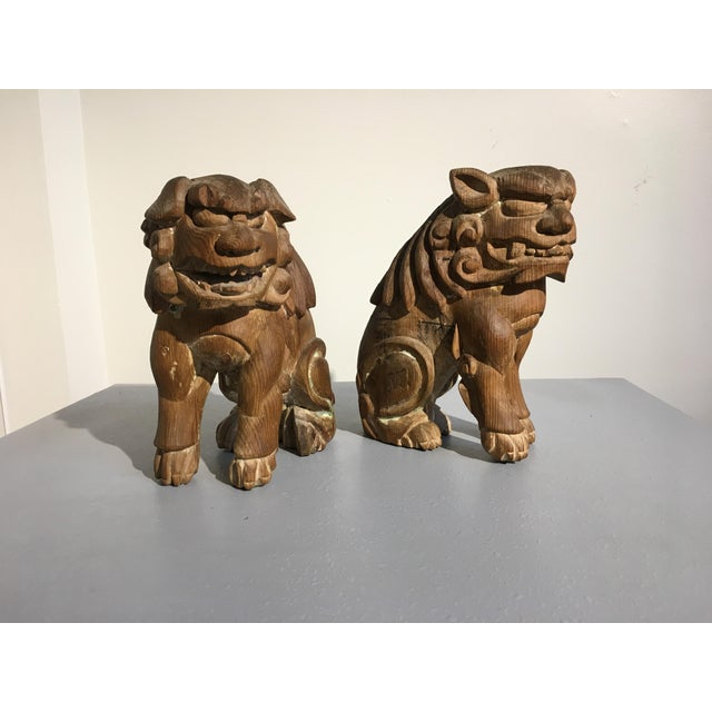 Pair Japanese Edo Period Carved Wood Komainu, early 19th century - Image 2 of 11