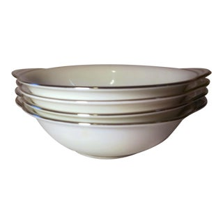 Noritake White Platinum Lugged Cereal Bowls - Set of 4