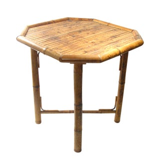 Vintage Octagonal Bamboo Table