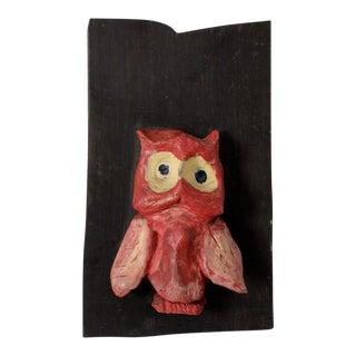 Mid-Century Ceramic and Ebony Owl Art Hanging