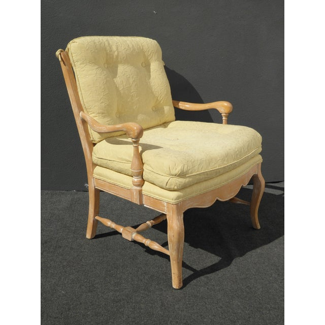 French Country Tufted Yellow Carved Accent Chair Chairish