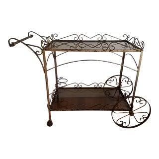 Mid Century Hollywood Regency Brass Bar Cart