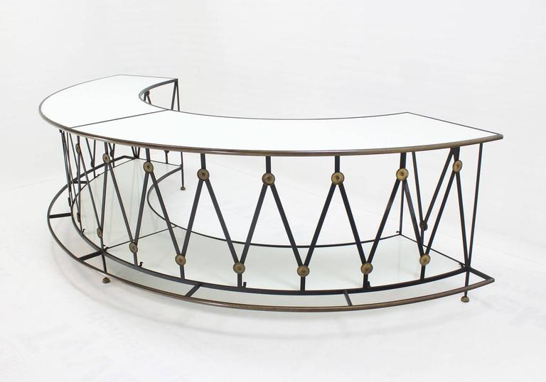 Gorgeous Wrought Iron Brass Milk Glass Half Round Bar Serving Table   Image  3 Of 10