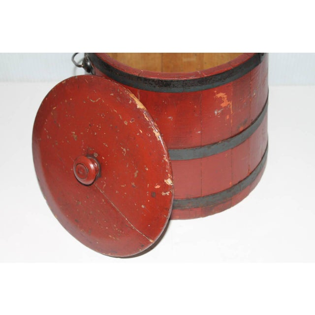 19th Century Original Brick Red Shaker Style Bucket with Handle - Image 2 of 4