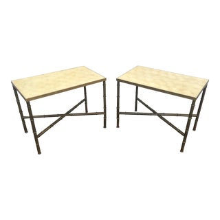 Brass Faux Bamboo & Capiz Shell Tables - A Pair