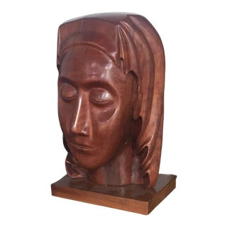 Mid-Century Wood Bust of a Woman